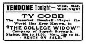 "Ty Cobb in ""The College Widow"""