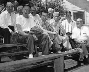 Milwaukee Braves staff: At Bradenton in the early 1950s. Roland Hemond is in the front, second from left, and Doc Gautreau is in the second row over Hemond's left shoulder.