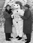 Experiencing the Carnaval de Québec with Bonhomme Carnaval, circa 1955. McQuinn managed the Quebec Braves from 1950 through 1954; Sisti managed in 1955.