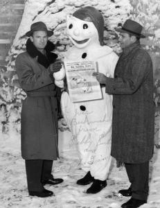 George McQuinn and Sibby Sisti: Experiencing the Carnaval de Québec with Bonhomme Carnaval, circa 1955. McQuinn managed the Quebec Braves from 1950 through 1954; Sisti managed in 1955.