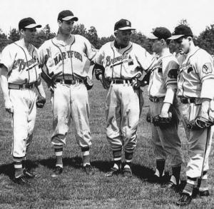 Quebec players: At Waycross with Billy Southworth, 1953. Jean-Marc Blais, Georges Maranda, Southworth, Claude Senechal, Jean-Guy Hebert. Signed by the Braves in 1951, Maranda broke into the major leagues with the San Francisco Giants in 1960.
