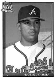 Francisco Cabrera: This 1991 Topps No. 693 was the card in the cap.