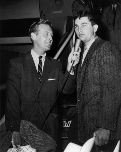 Vin Scully and Larry Sherry: Interviewing the 1959 World Series hero after the team returns from a Game Six triumph over the Chicago White Sox.
