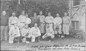 "1894 Phillies: Set the record for collective team batting average for a season at .350. Tuck Turner (back row, far right) hit .418, better than all three mem- bers of the ""Hall of Fame"" outfield, Ed Delahanty (.404), ""Sliding Billy"" Hamilton"