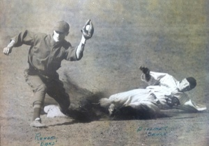 Forceout: A throw to Reese disposes of San Francisco Seals runner Carl Dittmar.