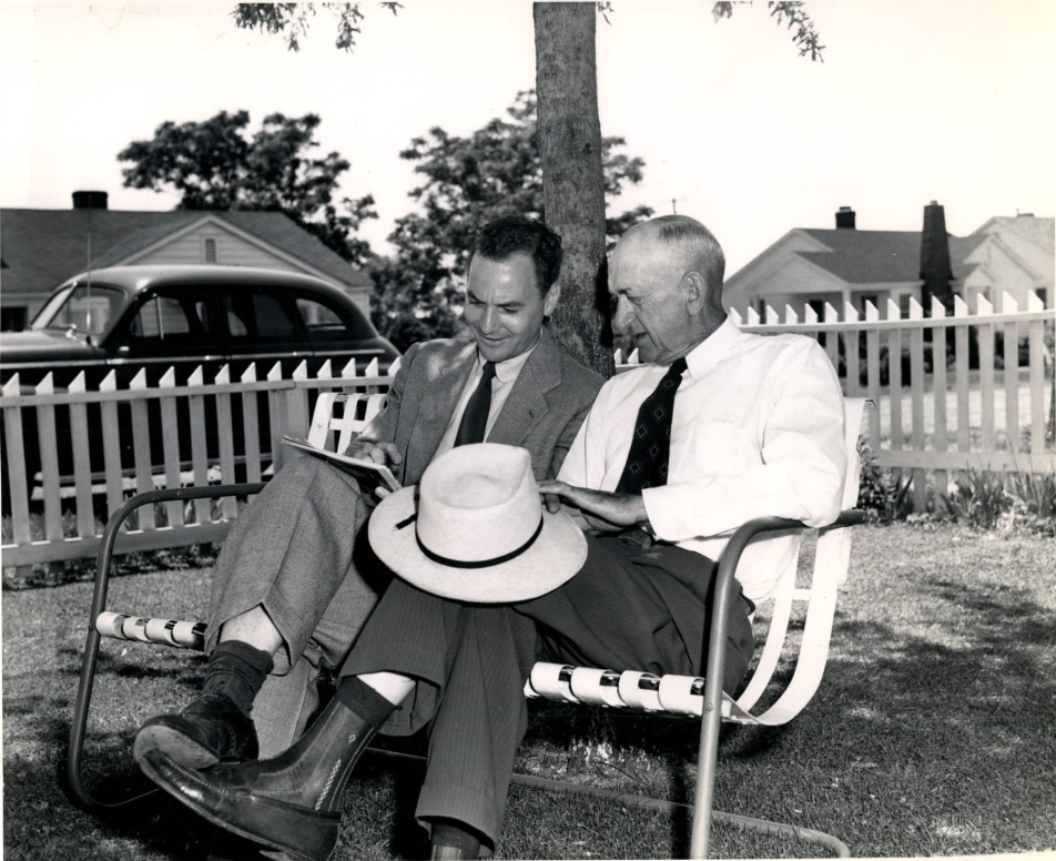 Shoeless Joe Jackson and sports writer Furman Bisher, 1949