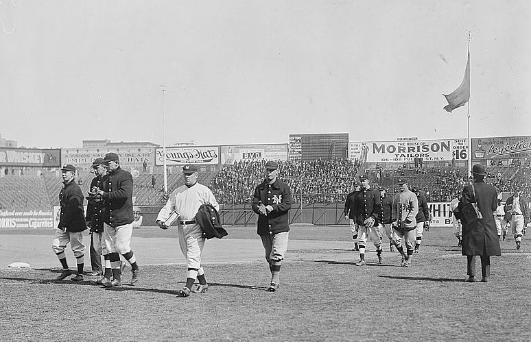 Manager John McGraw leads the New York Giants onto the field at the Polo  Grounds in New York 2611ddd1f