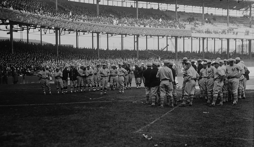 The New York Giants and Boston Braves gather on the field at the Polo  Grounds for Opening Day in 1923. (LIBRARY OF CONGRESS e01e5fad1
