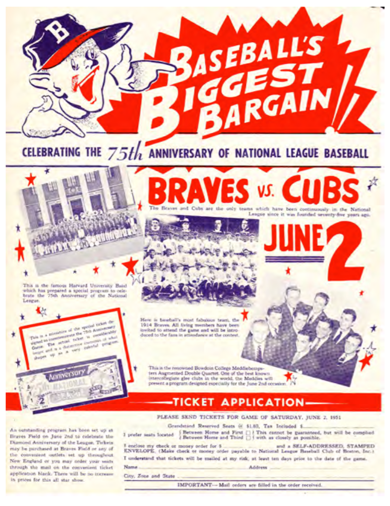"An ad promoting the June 2, 1951, game at Braves Field, where surviving members of the 1914 ""Miracle Braves"" championship team were honored."