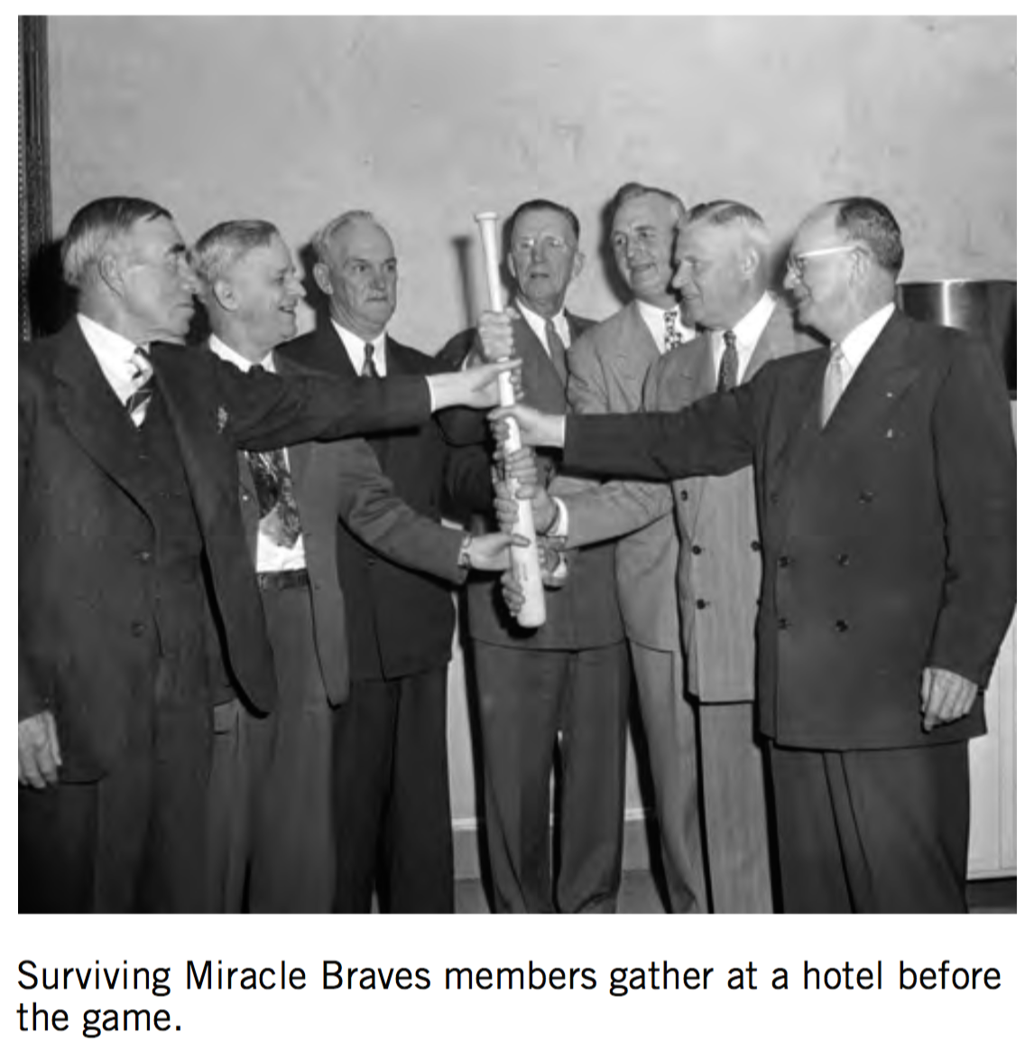 "Surviving members of the 1914 ""Miracle Braves"" championship team were honored before the June 2, 1951 game at Braves Field."