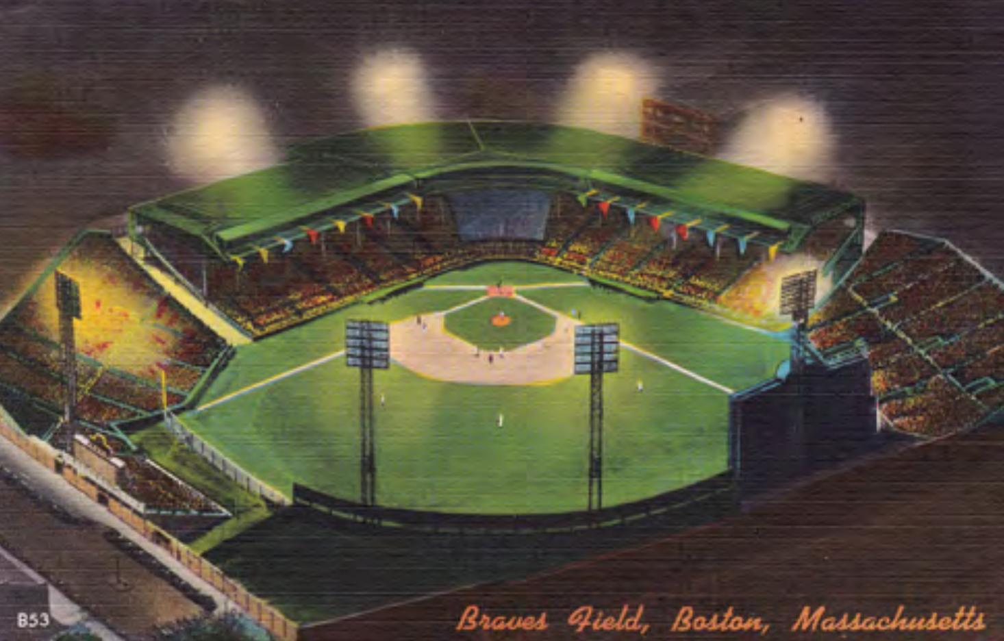 Braves Field at night