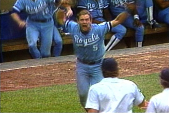 George Brett explodes after umpires called him out for excessive pine tar on July 24, 1983 (MLB.COM)