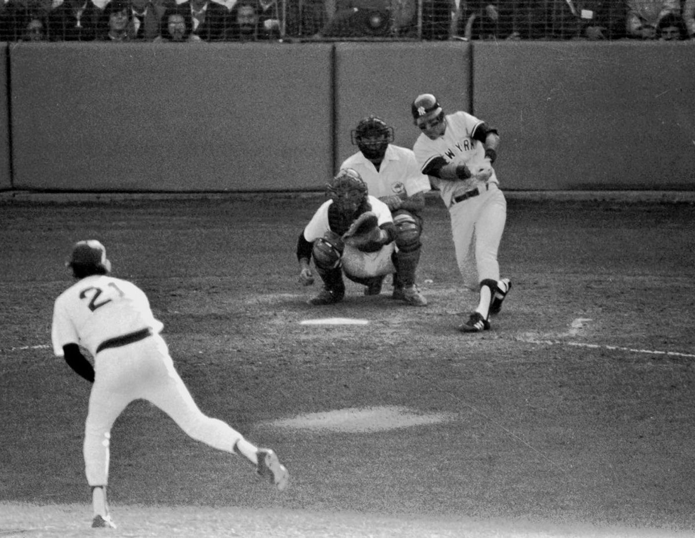 Bucky Dent connects for a go-ahead home run in the 1978 AL East tiebreaker at Fenway Park (MLB.COM)