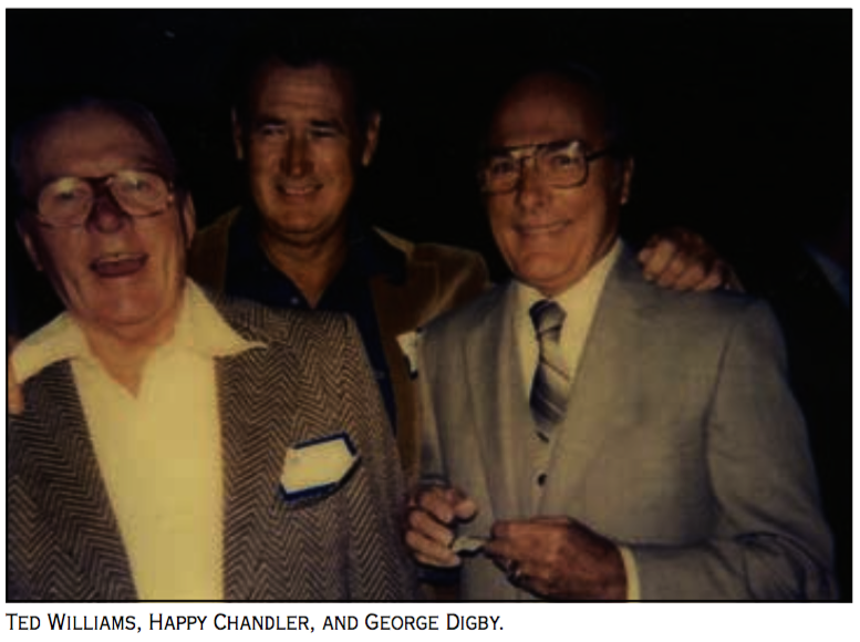 Scout George Digby with Ted Williams and commissioner Happy Chandler
