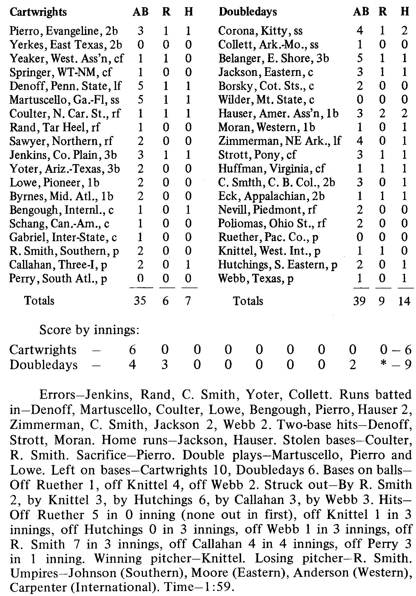 Doubledays vs. Cartwrights box score