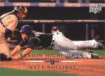 Matt Holliday slides across home plate to score the winning run in the 2007 NL West tiebreaker (TRADING CARD DB)
