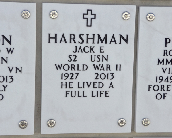 Jack Harshman grave marker