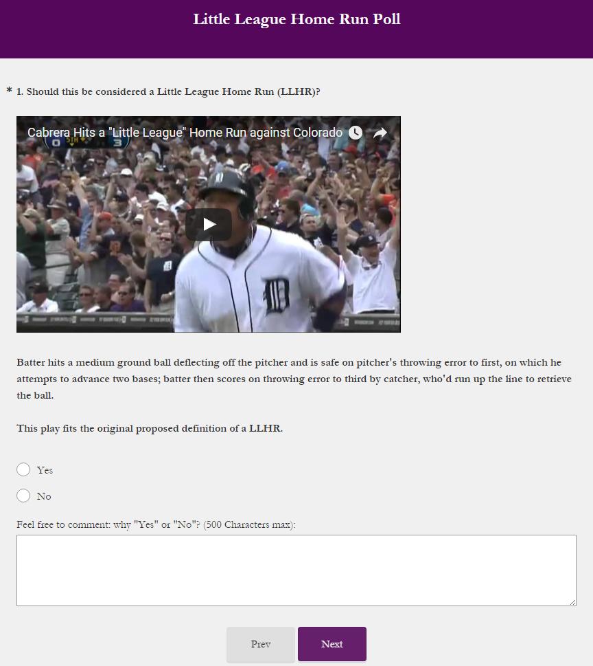 Little League Home Run poll