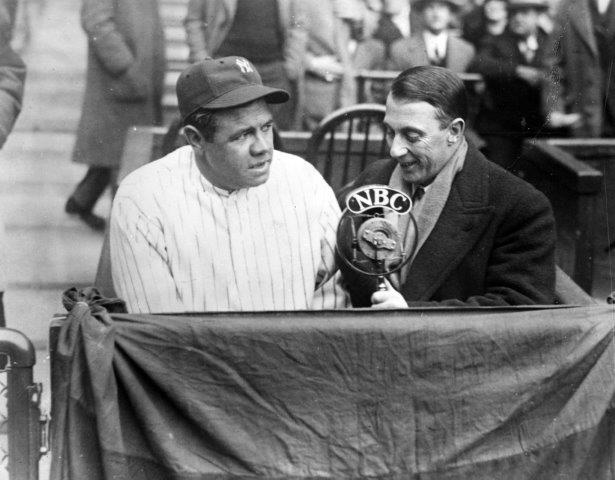 Graham McNamee interviews Babe Ruth for NBC Radio in the early 1930s (NATIONAL BASEBALL HALL OF FAME LIBRARY)