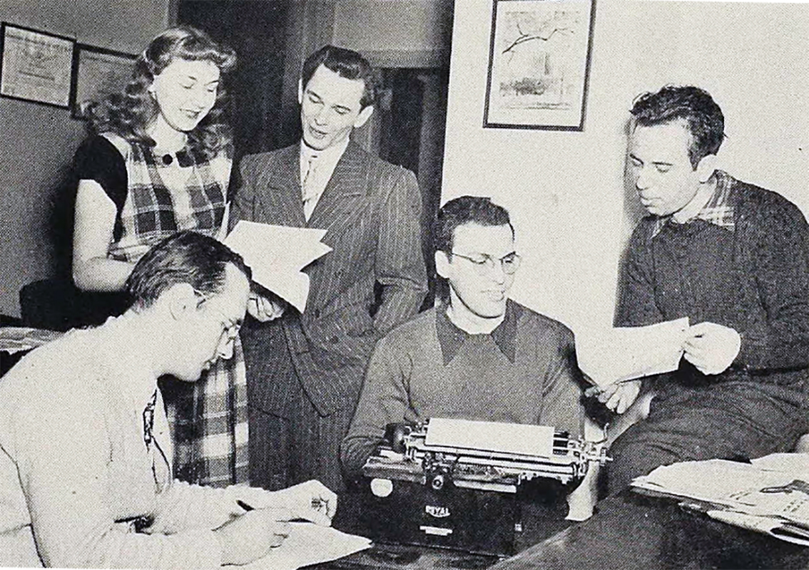 Dorothy Zander working at the Fenn College newspaper, circa 1948