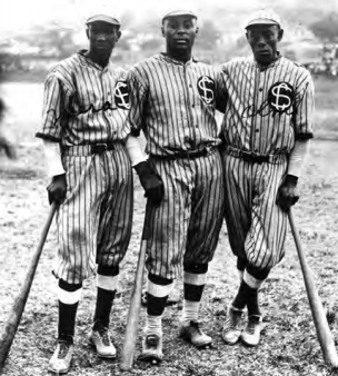 Pablo Mesa, Oscar Charleston, and Alejandro Oms playing for Santa Clara in Cuba in the mid-1920s