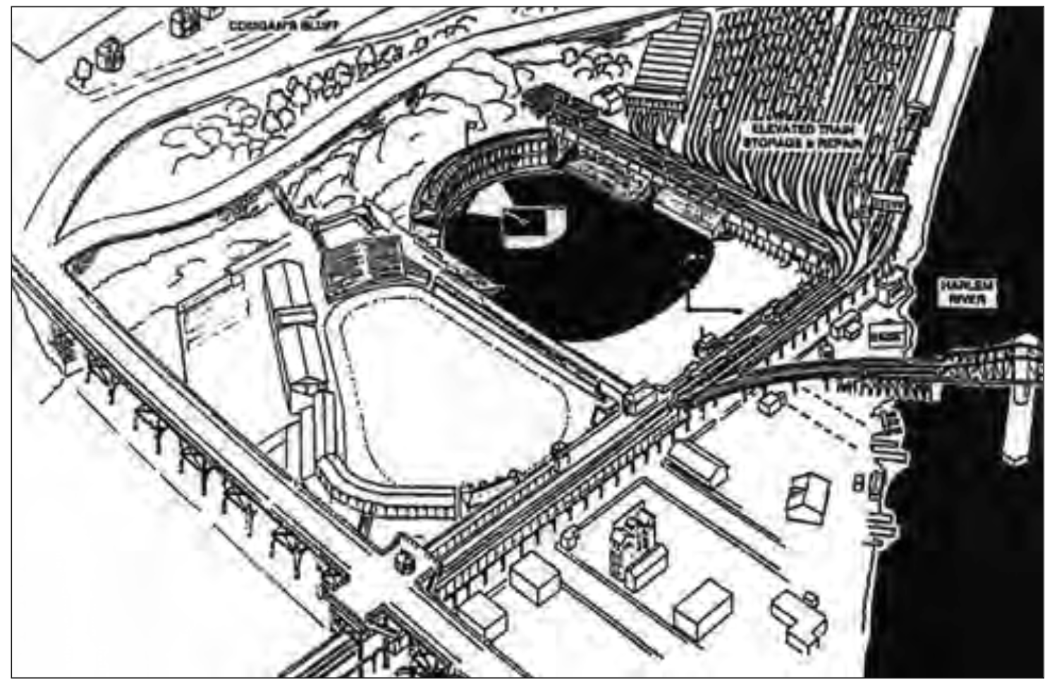 "On the left is the Polo Grounds that opened in 1889. On the right is the new ballpark that opened to the north of the ""New"" Polo Grounds in 1890."