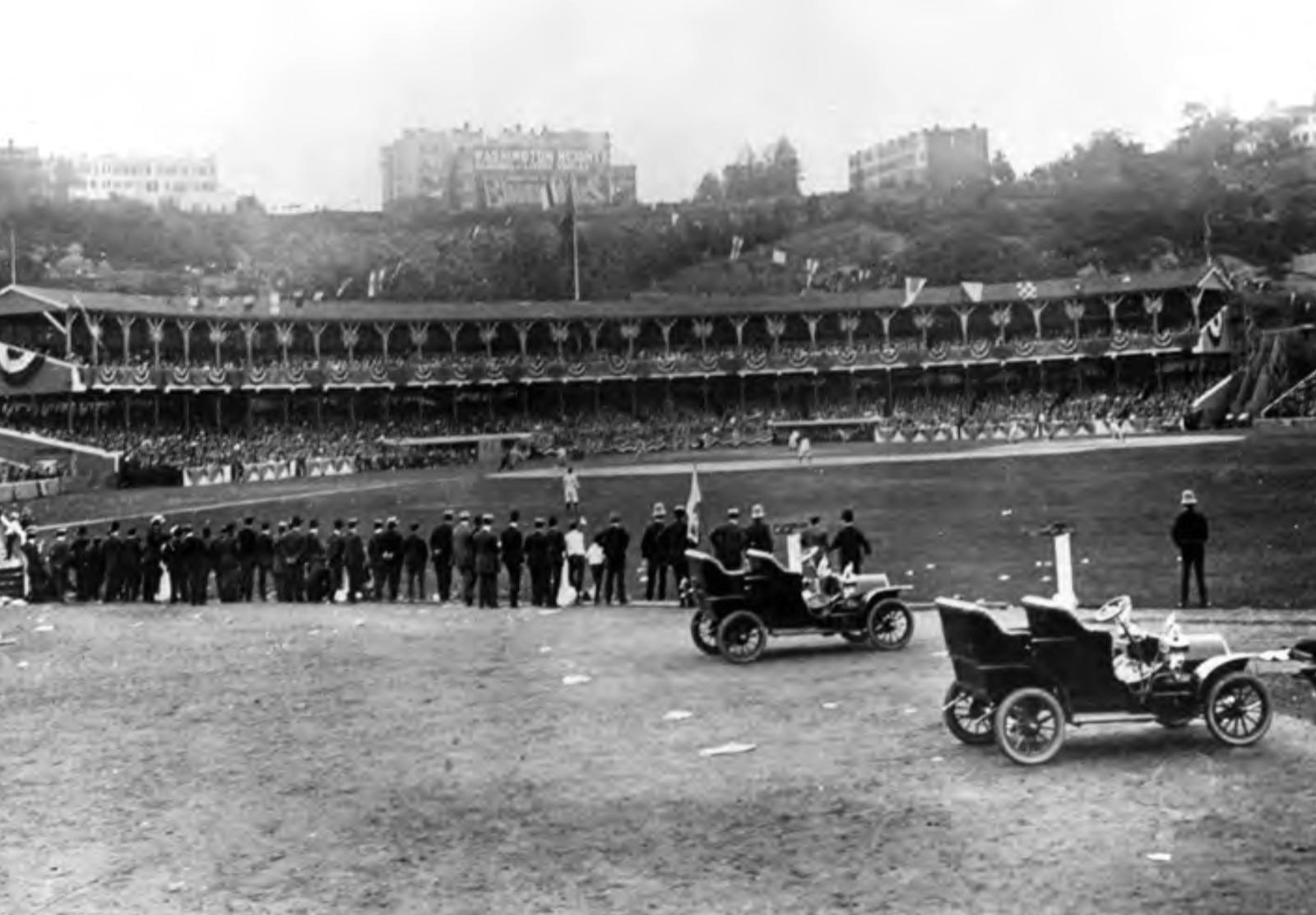 Coogan's Bluff is visible in the background as fans watch the 1905 World Series from center field
