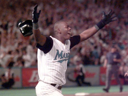 Edgar Renteria celebrates his game-winning hit in Game 7 of the 1997 World Series (MLB.COM)