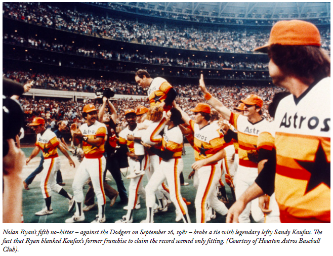 Nolan Ryan is carried off the field after his fifth no-hitter on September 26, 1981 (COURTESY OF HOUSTON ASTROS)
