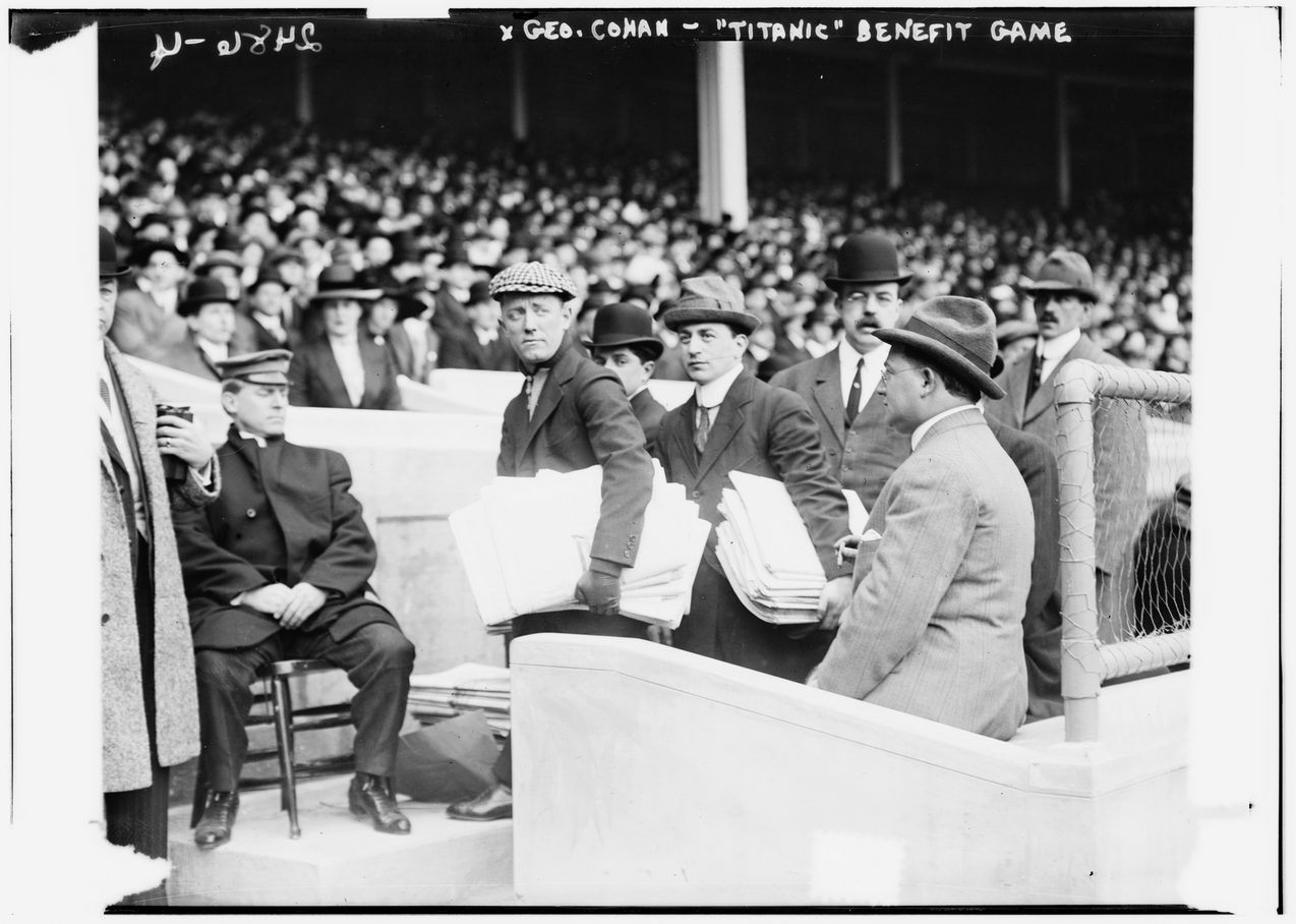 Broadway icon George M. Cohan, a Polo Grounds habitue and friend of Giants manager John McGraw, in the process of selling copies of the New York American to benefit the Titanic's survivors.