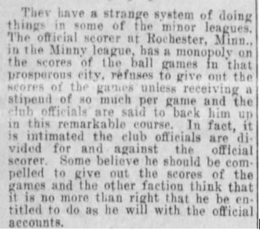 1910 Minneapolis Tribune article on official scoring not giving out scores unless he got additional money