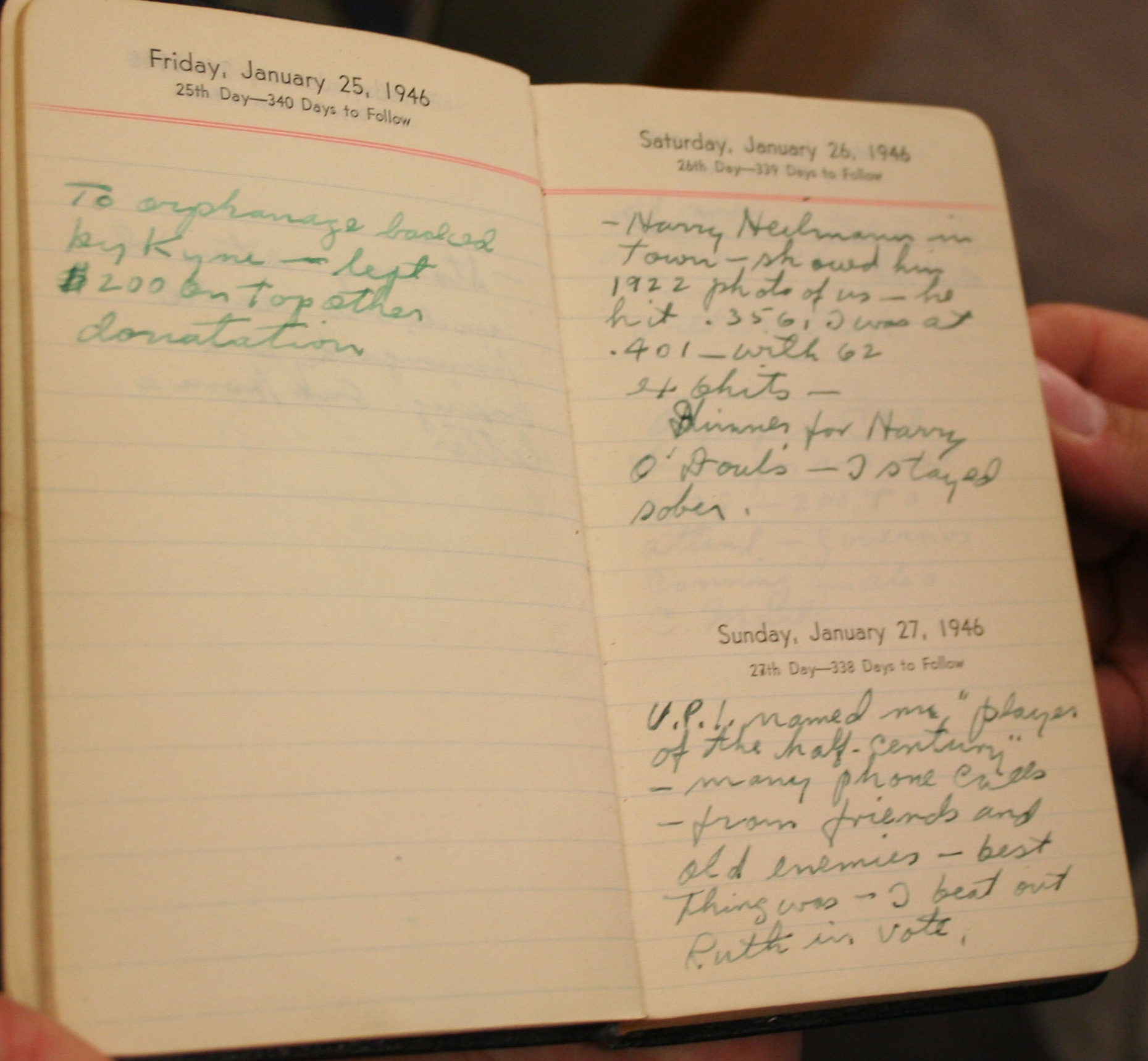 Ty Cobb's 1946 diary purchased by Major League Baseball from Barry Halper and donated to the Baseball Hall of Fame Museum in 1998. This diary was exhibited from 1999 through 2001 in the Barry Halper Gallery at the Hall of Fame. An FBI investigation in 2009 determined that the diary was a forgery. A recent comparison of the writings in this diary to the writings of Al Stump on the baseball-publication pages shown in exhibit 9 lead autograph expert Ronand B. Keurajian to conclude that Al Stump was the forger who created this diary.