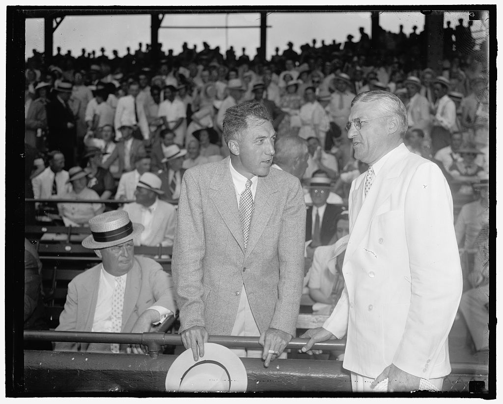 In the wake of Landis' death, baseball was run by the NL president Frick, left, and AL president Harridge, right, along with Landis' former secretary, Leslie O'Connor. Frick and Harridge are seen here at the 1937 All-Star Game in Washington, D.C.