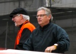At right, with broadcast partner Mike Krukow, during the San Francisco Giants' 2012 World Series championship parade.