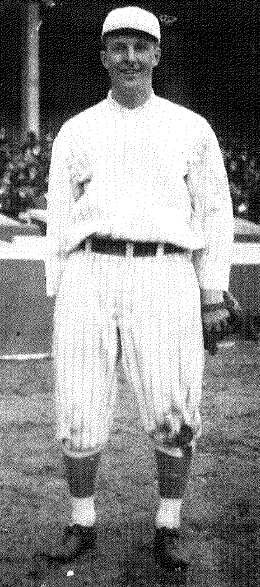 First player to spend most of his major-league career as a pinch-runner. In 37 games for the 1914 Giants, he stole four bases.