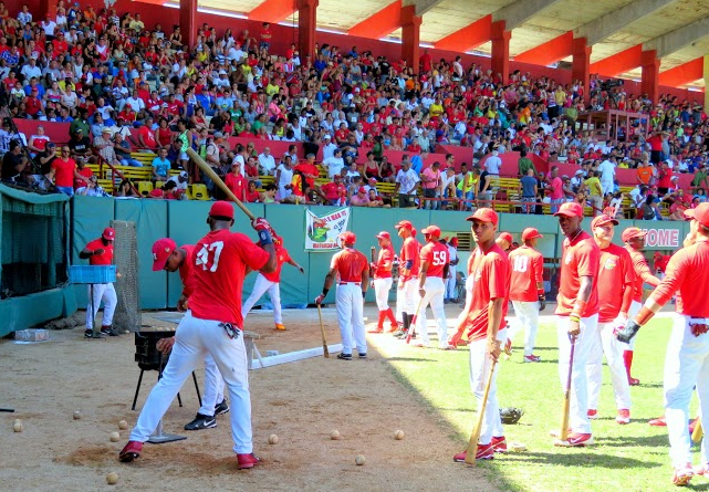 Pregame batting practice on March 1, 2015, at the home stadium of the Matanzas Cocodrilos in Matanzas, Cuba.