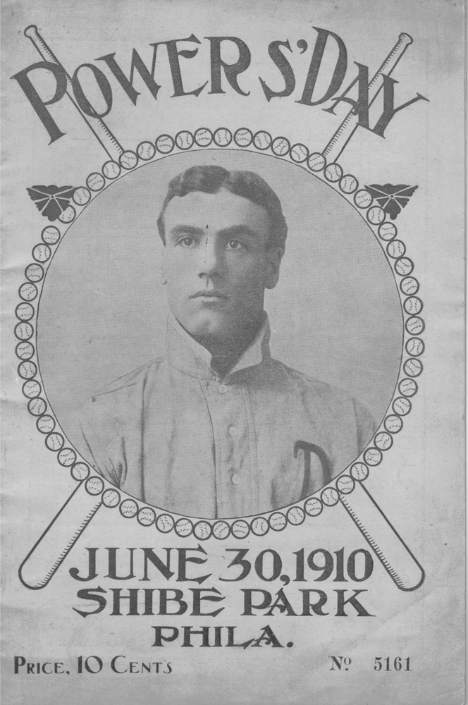Front cover of the program that was sold during Doc Powers Day at Philadelphia's Shibe Park on June 30, 1910.