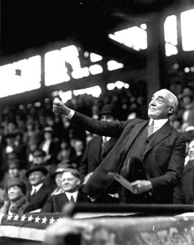 U.S. President chucks out the first ball at a Washington Senators opener.