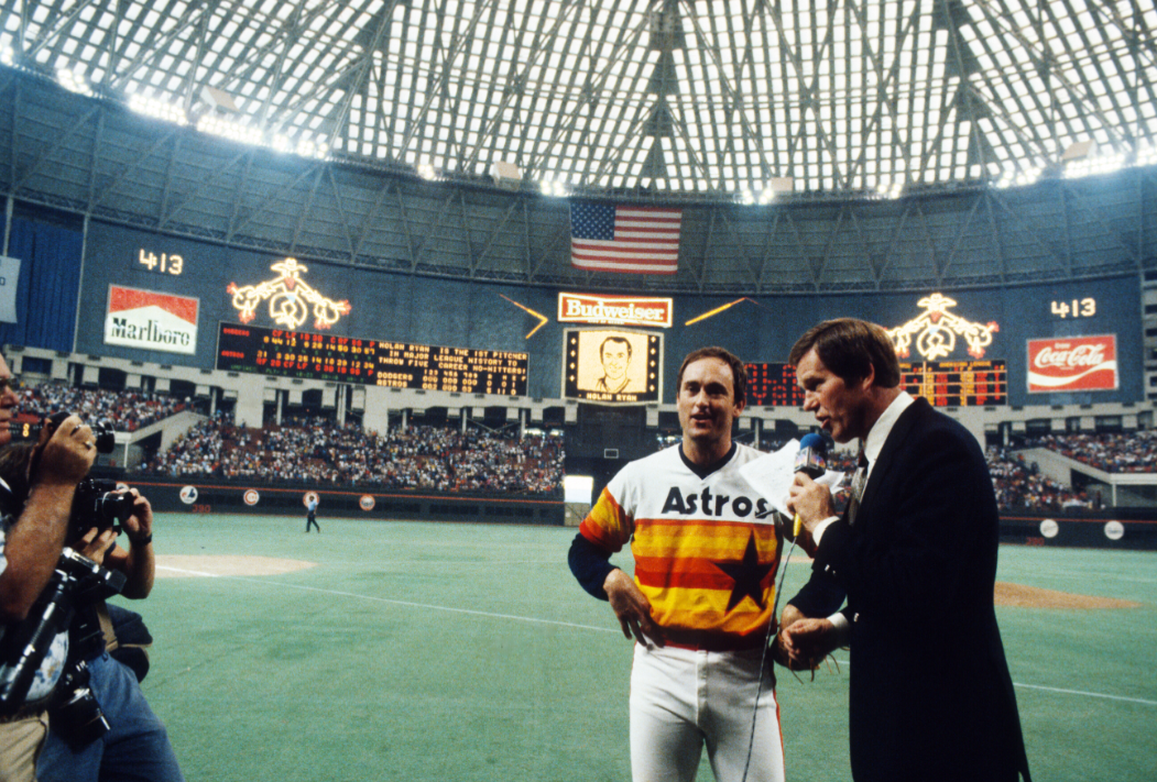 "A highlight was its 474-foot-long scoreboard, complete with a ""seemingly endless repertoire of animated light pictures, story-board cartoons, or often simple one-word commands."" Here, the Astros congratulate Nolan Ryan on his 5th no-hitter in 1981."