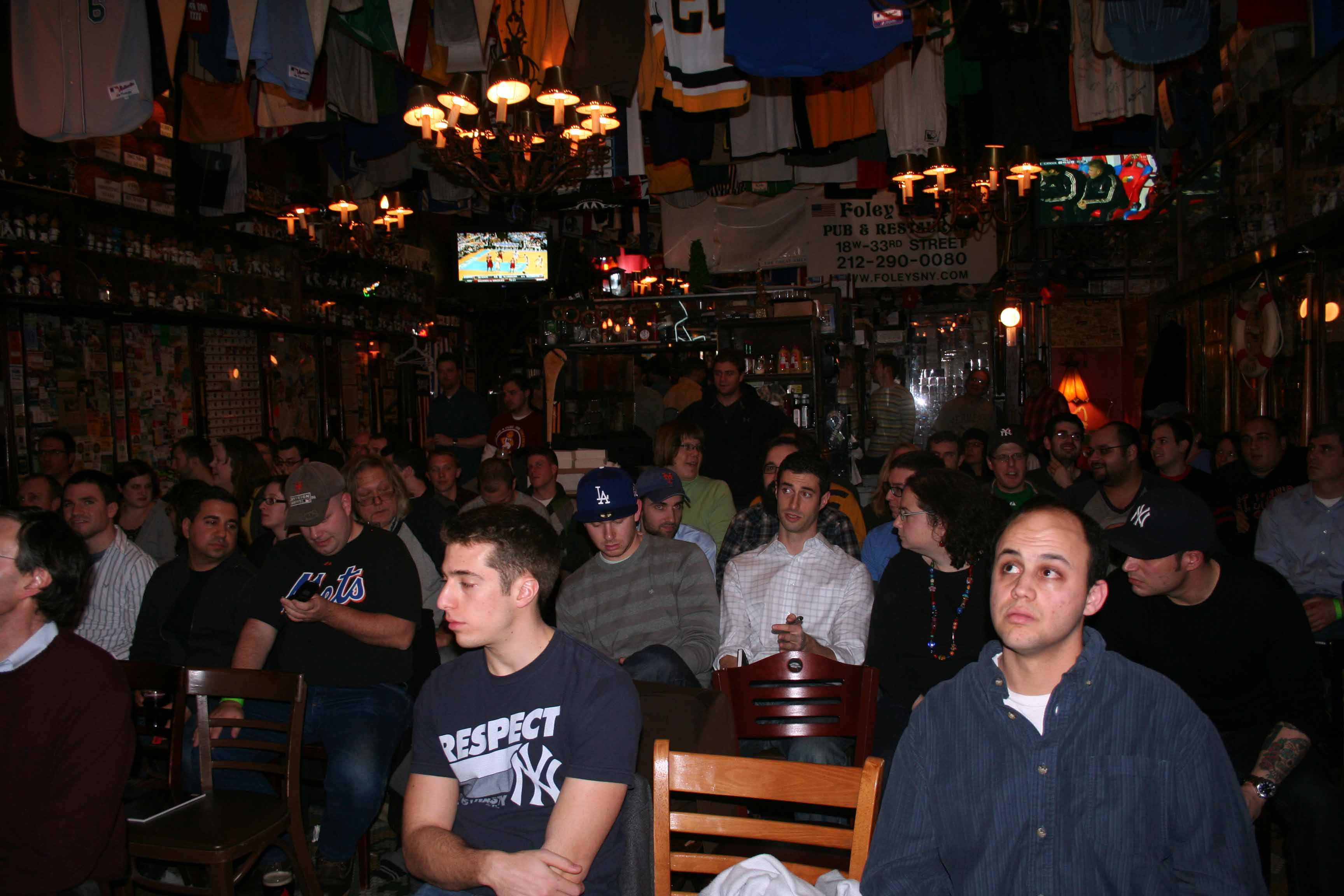 Members gather at Foley's Pub for the Baseball Prospectus SABR Day Summit.