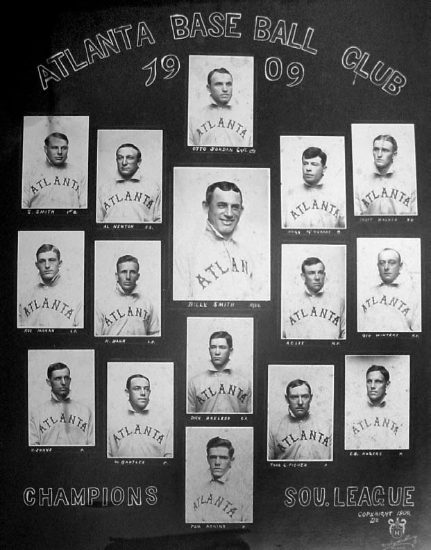 Jordan (top,center), S. Smith (top, far left), Walker (top, far right), Moran (middle, far left), and Bayless (third row, center) returned in 1910 and played in one of the fastest games ever recorded.